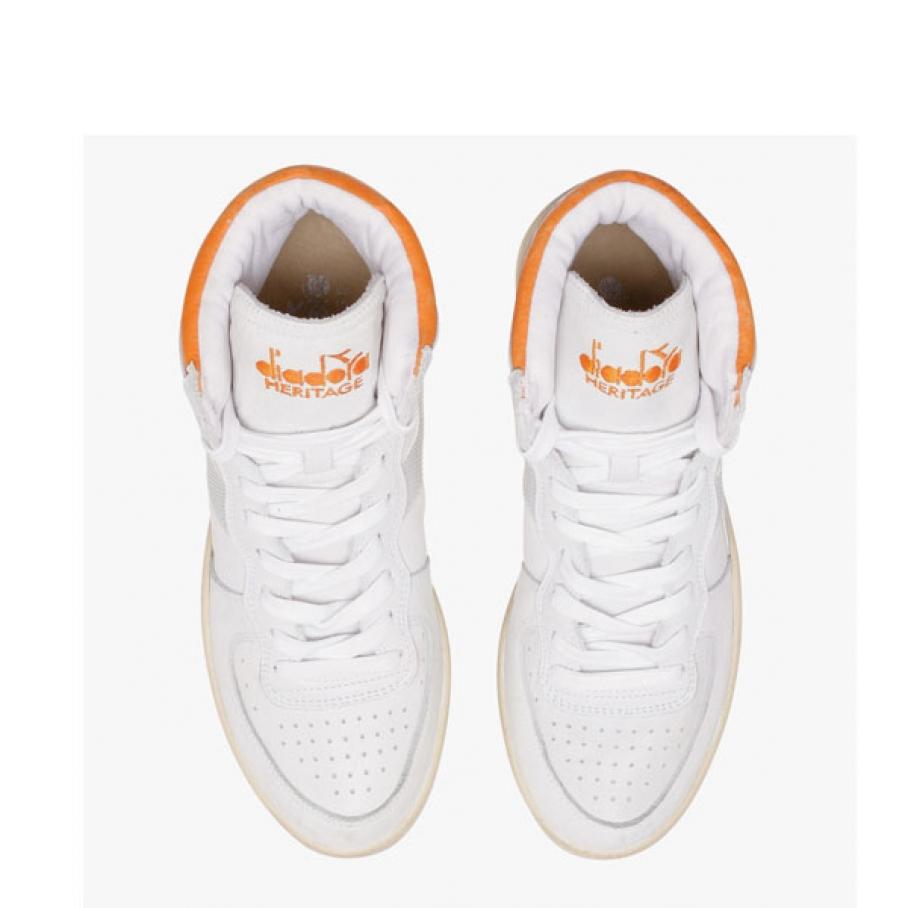 Diadora Heritage - Diadora mi basket used white orange